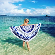 150cm Throw Microfiber Summer Bath Towel Round Sand Beach Towel for Kids Adults Women serviette de plage Swimming Sunbath Yoga(China)