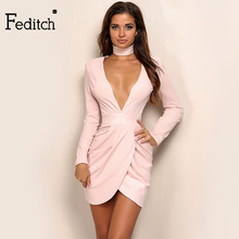 Feditch 2017 Hot Sale Spring New Women V Neck Long Sleeve Open Fork Party Dresses De Festa Sexy Vintage Red Pink Summer Vestido(China)