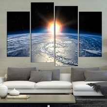 Modern Home Wall Art Decor Frame Pictures 4 Pieces Clouds Earth Surface Sun Shine Abstract Landscape HD Printed Canvas Painting(China)