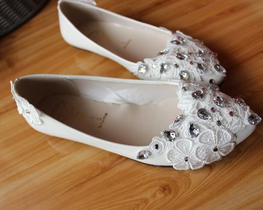Sweet handmade wedding flats shoes for women TG142 silver rhinestones lace bridal party dance shoes white custom make heel<br><br>Aliexpress