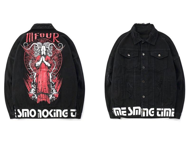 Satan Goat Head Occult Symbol Printed Denim Jackets 1