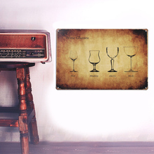 European Retro wine glasses sign board Wall stickers metal iron crafts pictures Furnishing articles painting draw bar house(China)