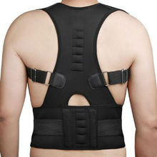 Adjustable Magnetic Posture Corrector Corset Back Support Brace Belt Orthopedic Vest Black White AFT-B002