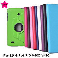 "Flip Cover For LG G Pad 7.0 V400 V410 Gpad 7.0"" Tablet case 360 degree Rotating Ultra Slim Litchi Pattern PU Leather Case(China)"