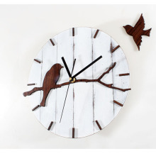 Retro Wood Wall Clock Pastoral Lovely Birds Home Decor Creative Art Watch 12""
