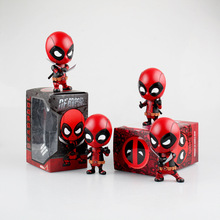 Free Shipping Comic Anime Marvel Hero X-Men Deadpool Boxed PVC Figure Bobble Head Shaking Head Car Decoration Doll