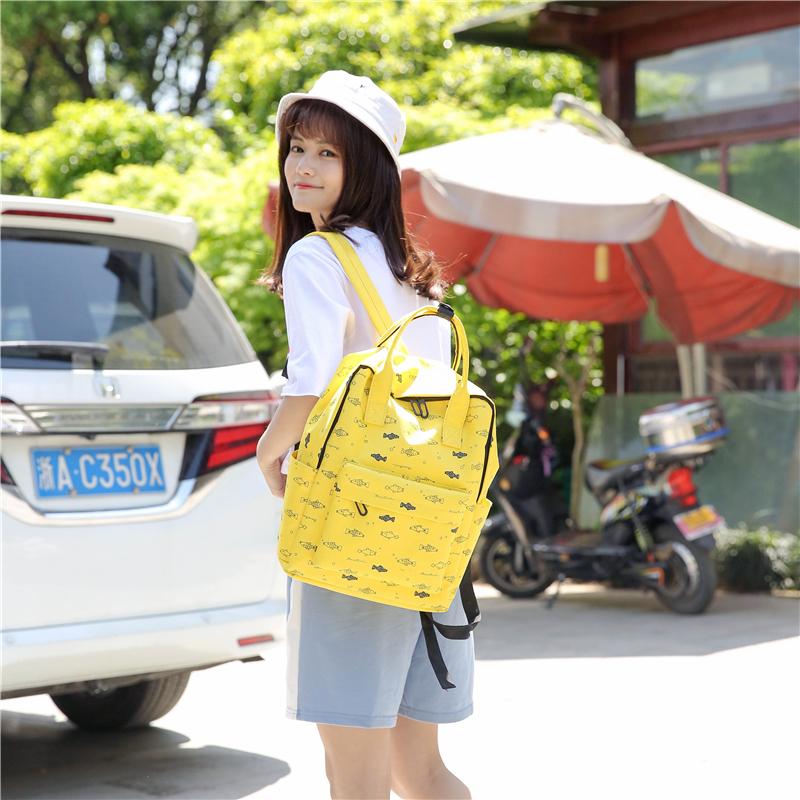 Menghuo Fish Printing Women School Bag Backpack for Teenage Girls Backpacks Female Canvas Children Schoolbag Women Bag s (35)