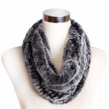 ZY86002 2016 Hot Sale  Winter Fashion Multicolor Neckwarmers Genuine Knitted Rex Rabbit Fur Big Scarves Wraps Women  Neck Scarf