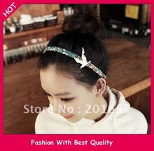 NEW Wholesale floral fabric braided plaited headband with gold bird headband korea style hair accessories(China)