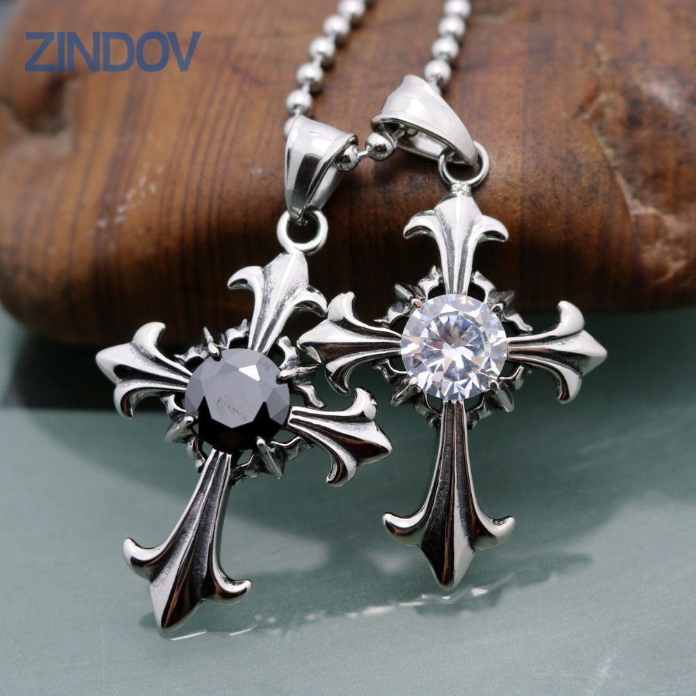 Stock Sales Men Jewelry Pendant Necklace 316 Stainless Steel CZ Black Crystal Male Long Link Chain 60cm Punk Cross Boy Necklaces(China)