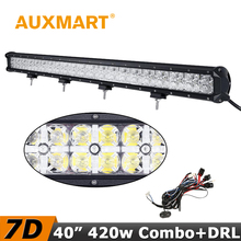 Auxmart 420W 7D LED Light Bar 40 inch CREE Chips Offroad Driving LED Bar Cross DRL Combo Beam Fit Truck Wagon SUV 4x4 Tractor
