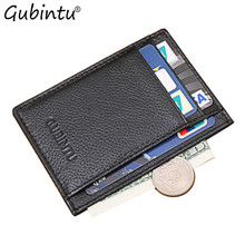 GUBINTU Solid Color Cards Bag Leather Case Business Card Holder Men Credit ID Card Bag Wallet Black pokemon kaarten carteira(China)