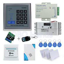 Hot sale completed door access control keypad system K2000 electric drop bolt lock+power supply+exit button+10pcs ID key cards(China)