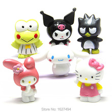 6pcs/set 3-5CM Sanrio Hello Kitty kuromi PVC Action Figures Cartoon Bird Frog Miniatures Figurines Kids Toys for Boys Girls Gift