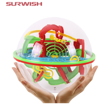 Surwish Large Size 100 Steps Small Big Size 3D Labyrinth Magic Rolling Globe Ball Marble Puzzle Cubes Brain Teaser Game Sphere