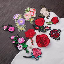 1Pcs Rose Flower Leaves Embroidery Iron On Applique Patch Sew On Patch Craft Sewing Repair Embroidered Hat Bag Jeans Patches