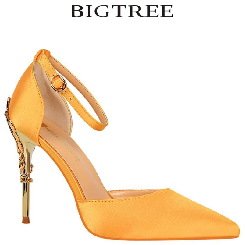 BIGTREE 2017 New Summer Shoes Woman Womens DOrsay &amp; Two-Piece High Heels Silk Yellow Stilettos Carved Metal Heel Party Shoes<br>