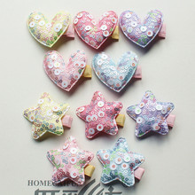 100pc/lot Hot Pink with Shining Sequin Star Kid Hairpin Bigger Round Glitter Star Heart Hair Girl Hair Barrette Purple Hair Clip