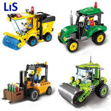 Lis City Construction Road Roller Forklift Truck Tractor Sweeper Truck Building Block Mini figure Kids Toy Compatible Lepin