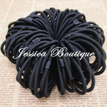50pcs 4mm Black Elastic Ponytail Holders Stretchy Elastic Headband  Hair Ties Hair Bobbles For Baby Children Adults Hair Band