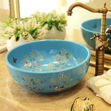 China Artistic Europe Style Counter Top porcelain wash basin bathroom sinks ceramic art painted ceramic bathroom sinks blue bird