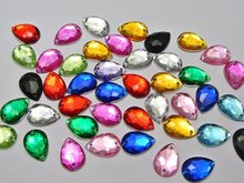 100pcs 13*18mm Mixed Color Acrylic Flatback Teardrop Rhinestone Sew drill fashion diy decoration jewelry