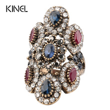 Buy Kinel Unique Ring Vintage Jewelry Women Antique Gold Rings Inlaid Crystal Punk Rock Turkey Fashion Clothing Accessories for $2.92 in AliExpress store