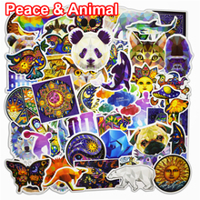60Pcs Peace World and Animal Stickers for Laptop Phone Bicycle Luggage Mixed Motorcycle Cartoon Vinyl Waterproof PVC Sticker(China)