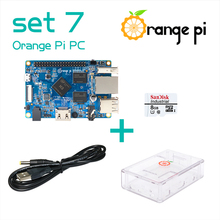 Hot Orange Pi PC SET 7:  Pi PC +  Transparent  ABS Case +  Power Cable + 8GB Class 10 Micro SD Card  Beyond Raspberry