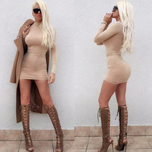 Buy 2017 spot European American solid color high collar sexy waist tight bandage dress fashion dress for $17.00 in AliExpress store