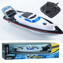XQ 2.4GHZ Electric RC Boat Toys Micro Remote Control Radio Controlled Fast Racing Speed Police Ship Boat RC For Children Gifts(China)