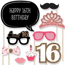 23pcs happy 16th Birthday Party favor Supplies Photo Booth Props wedding Decor Funny Mask Baby Shower Kids Boy Girl kids gift
