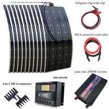 1000W Solar Power Syetem Includes 10pcs 100W Solar Panel 2000W Pure Sine Wave Inverter 30A Controller and Connection Cables(China)