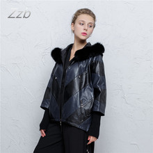 Genuine Leather Short women jacket 100% real Leather sheep coat stitching loose large size bat shirt Hooded Fall fox fur collar