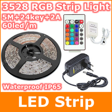 5M 3582 SMD300leds IP65 waterproof rgb led strip light warm white  red bule green orange yellow 24key DC12V 2A  strips lighting