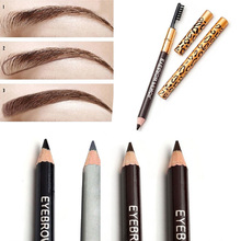 1pcs Eyebrow Pencil & Brush Eyebrow Enhancer Long Lasting Makeup Pencil To Eye Two Sides With Brush Design Metal Casing 4 Colors