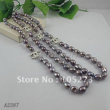 Charming! 긴 pearl necklace 40''inchs 8-9mm gray color 정품 담수 pearl necklace 핫 \ % sale 보석 Free shipping A2387(China)