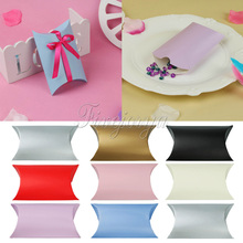 100Pcs/lot Paperboard Pillow Boxes Candy Box Wedding Party Favors and Gifts Boxes for Guests Xmas Decorations 9cm x 13cm x 3.5cm