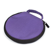 UXCELL Round Shaped 20 Slots Cd Discs Zipper Closure Holder Bag Wallet Purple
