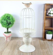 modern white iron candle holder decorative bird cage wedding bird cage decoration lantern candle holder candle lantern ZT102(China)