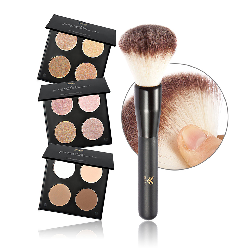 Makeup Set Kit Highlight Highlighter Powder Palette Make Up Eye Shadow Cosmetic Trimming Face Contour Brown Bronzer with Brush(China (Mainland))