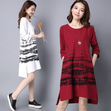 Maternity Dresses for Photo Shoot New 2017 Autumn Large Size Cotton Linen Printing Long Sleeved Dress Women for Pregnant YFQ040