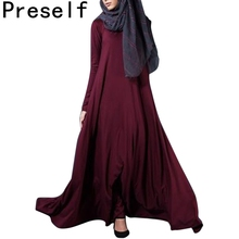 Preself moslim arabische wrap dress vrouwen knit maxi jurken mode lange mouw vestidos herfst winter plus size geen pakket(China)