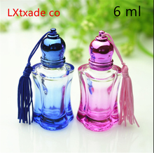 Ferr Shipping 6ml Glass Perfume Roll on Bottles Yellow Pink Blue Clear Parfume Wen perfume Empty Packing Glass Bottles(China)