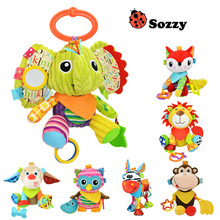 Sozzy Baby Rattle Bell Baby Infant Crib Stroller Hanging Toy Cute Cartoon Animals Stuffed Plush Pacify Dolls(China)