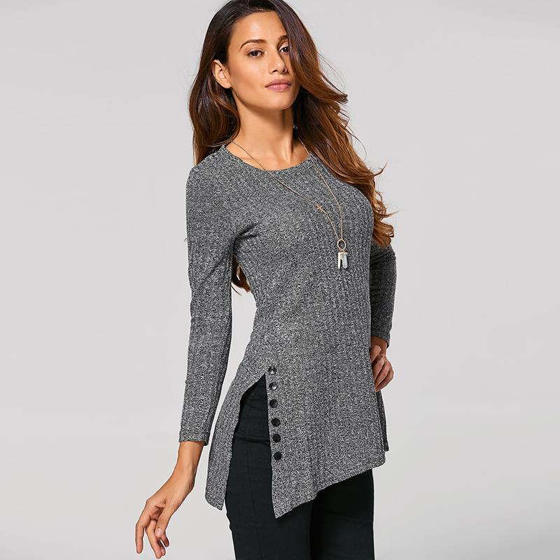 Women's Winter O-Neck Long Sleeve, Side Button, Irregular Hem, Solid Long Sweater 13