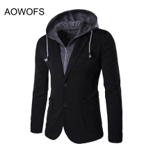 2017 Leave Two Design Mens Hooded Blazer Suit Jacket Men Blazer Coat Two Button Casual Slim Fit Black and Gray Blazer Masculino