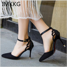 IMKKG Plus Size 42 Summer Style Women Shoes Ankle Strap Pumps Cut-Outs Woman Dress Shoes Pointed Toe thin High Heels Pump s004