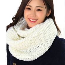 Winter Cable Ring Scarf Women Infinity Scarves Winter Warm Women's Nice Infinity 2Circle Cable Knit Cowl Neck Long Scarf Shawl(China)