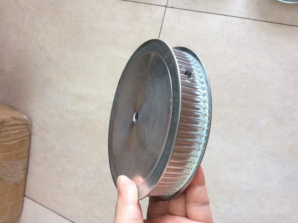 Cheap price customized design 12.7mm bore 2*M4 screw double flange 10 mm pitch alloy pulleys<br>
